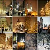 Winter night in Prague Stock Photos