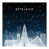 Winter night in Reykjavik. Night city in flat style for banner, poster, illustration, game, background Stock Image