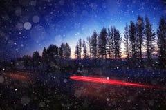 Winter night road Royalty Free Stock Photo