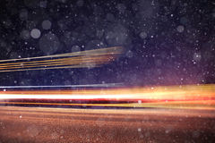 Winter night road. With snow background Stock Photos