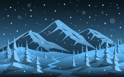 Winter night  rocky mountain and pine forest woodland cartoon xmas christmas new year background Stock Photo