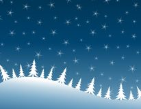 Winter Night Row of Christmas Trees. A clip art illustration featuring a row of white Christmas trees outlining a snowy slope under a night blue sky with Royalty Free Stock Photography