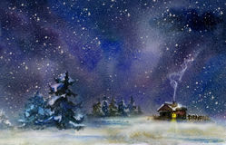 Winter night. Night rural landscape at winter. Watercolor illustration Stock Photography