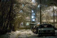 Winter night in russian ghetto Stock Image