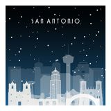 Winter night in San Antonio. Night city in flat style for banner, poster, illustration, background Stock Photos