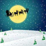 Winter night with Santa sleigh. Winter night landscape with Santa sleigh silhouette Royalty Free Stock Photography