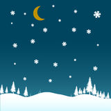 Winter night scenario with snow. Illustration of a night in winter with the moon and snow falling Royalty Free Stock Images