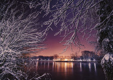 Winter night scene. In Bucharest, Romania stock photo