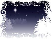 Winter night scene, framed Stock Photos