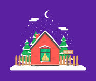 Winter night scene with house. Christmas trees and snowfall. Holiday frozen background for decoration card, invitation, greeting, poster, postcard. Real estate Royalty Free Stock Photo