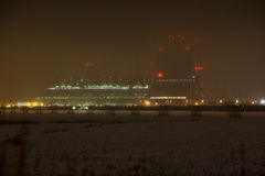 Winter night scene of power station Royalty Free Stock Image