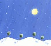 Winter night scene with trees. Acrylic illustration of Winter night scene with trees Stock Photos