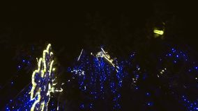 Winter night scenery city square. Christmas ornaments stock footage