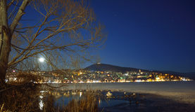 Winter night scenery with full moon Stock Images