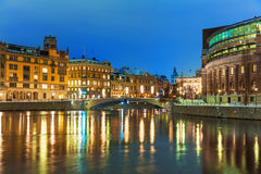 Winter night scenery of Stockholm, Sweden royalty free stock images