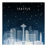 Winter night in Seattle. Night city in flat style for banner, poster, illustration, background stock illustration