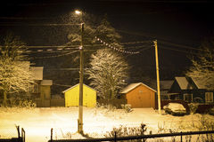 Winter night in a small Russian town. Nature. Stock Images