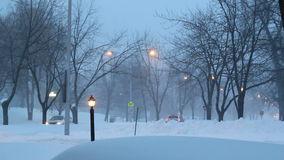 Winter night in small town stock footage