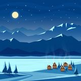 Winter night snow landscape with moon, mountains, hills, fir trees, cozy houses. Christmas and new year welcoming. Winter night snow landscape with moon royalty free illustration