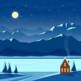 Winter night snow landscape with moon, mountains, hills, stars, fir trees, river, lake, cozy house, village cottage. royalty free illustration
