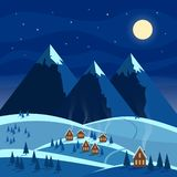Winter night snow landscape with moon, mountains, hills, trees, cozy houses with lighted windows. Christmas and new year welcoming stock illustration