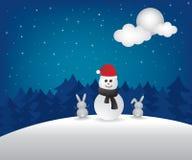 Winter night  and snowman illustration Stock Photos