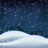 Winter night in the snowy hill Royalty Free Stock Photos