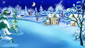 Winter Night in the Snowy Suburbs at Christmas Eve Stock Photography