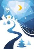 Winter night. Stylized winter night landscape. New Year  illustration Royalty Free Stock Photo
