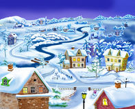 Winter Night in the Suburbs before Christmas Royalty Free Stock Images
