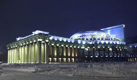 Winter night theatre. Theatre of Opera and ballet, winter night, Novosibirsk Stock Photos