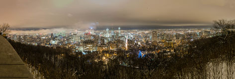 A winter night time panorama of Montreal. Stock Image