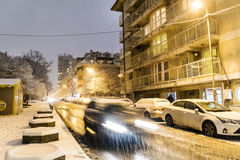 Winter night traffic in Sofia,Bulgaria royalty free stock photos