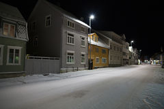 Winter night in Tromso streets Stock Photo