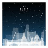 Winter night in Turin. Night city in flat style for banner, poster, illustration, background