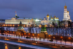 Winter night view of the Moskva River and Moscow Kremlin Stock Image