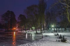 Winter night view Stock Photography