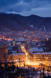 Brasov old medieval center. Winter night view over old town Stock Photo