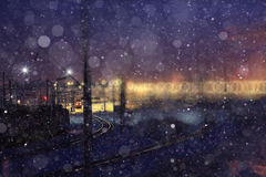 Winter night view of  railway Royalty Free Stock Image