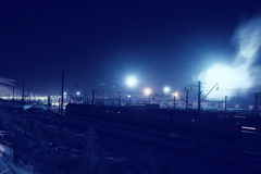 Winter night view of the railway Royalty Free Stock Photos
