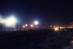 Winter night view of the railway Royalty Free Stock Images