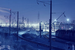 Winter night view of the railway Stock Images