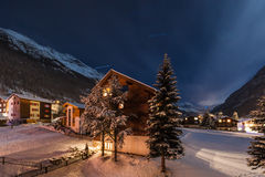 Winter night view of the tasch valley Royalty Free Stock Photo