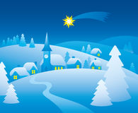 Winter night. Village in winter. Christmas silent night vector illustration