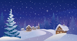 Winter night village Stock Images