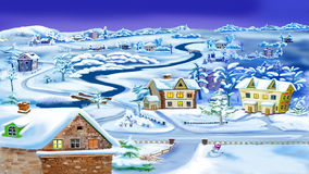 Winter Night in Village by the River Stock Image