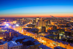 Winter night Voronezh downtown aerial cityscape. View to Revolution prospect.  Stock Photos