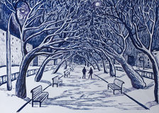 Winter night.On the walkway in the city Park.  Royalty Free Stock Images