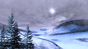 A winter night, windy and stormy animated evening landscape
