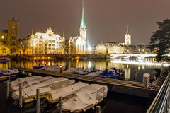 A winter night in Zurich Royalty Free Stock Images